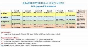 ORARIO DELLE SANTE MESSE ESTIVE