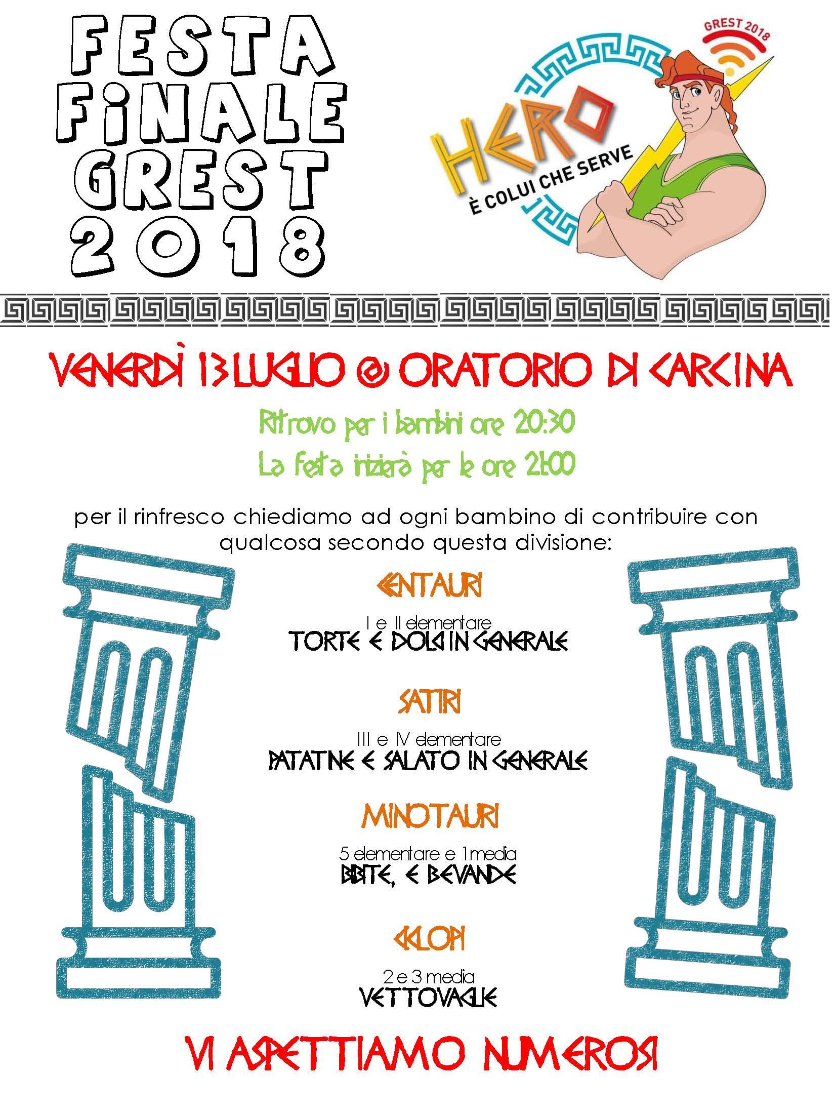 FESTA FINALE Grest Carcina 2018